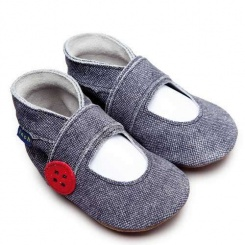 Skórzane Buciki - Mary Jane / Denim, 6-12m-cy, INCH BLUE